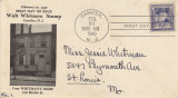 First Day of Issue Walt Whitman Stamp to Jessie Whitman, February 20, 1940