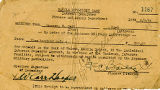 Manila Internment Camp reciept for Carr Hooper